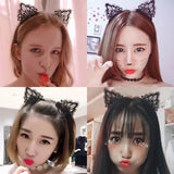 Metal Cloth Covered Thin Hard Cat Ears Headband Horn Crown Hair Hoop Hairband Cross Bands Halloween Party Favor for Women-Hair Hoops-inSowni