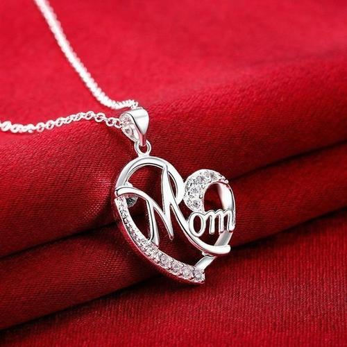 Mother's Day Women Girls Alloy Love Mom Rhinestone Necklace Silver Rose Gold Pendant Chain Jewelry-Women Necklaces-inSowni