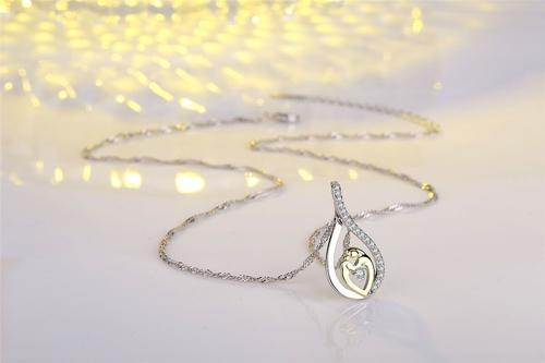 Mother's Day Women Girls Copper Rhinestone Necklace Silver Gold Pendant Chain Jewelry Fashion Gift-Women Necklaces-inSowni