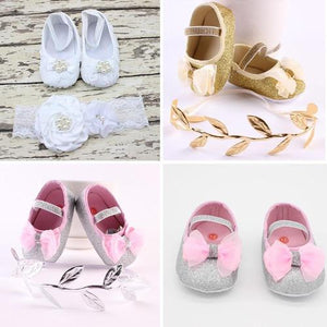 Newborn Baby Girls Infant Toddler Kids Crib Bed First Shoes Prewalkers Headband Hair Bows Photography Set Gift-Headbands-inSowni