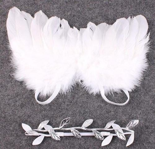 Newborn Baby Girls Toddler Infant Shower Christening Bapstim Feather Angel Wing Headbands Hair Bows Photography Clothes Party-Headbands-inSowni