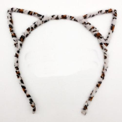 Plastic Thin Fur Leopard Cat Ears Headband Horn Hair Hoop Hairband Cross Bands Bow Comb Birthday Halloween Party Favors Supplies-Hair Hoops-inSowni