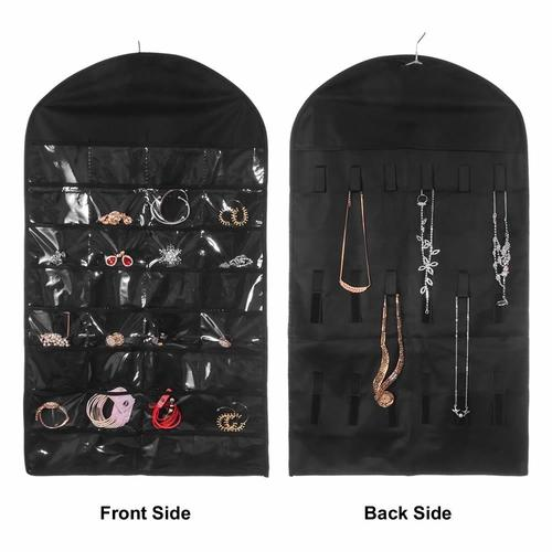 Pockets and Hooks Dual Sided Non Woven Jewelry Necklace Earrings Bracelets Rings Accessories Hanging Storage Organizer Bag Wall Mounted Hanger Holder Clear Display Collapsible (32 Pockets-Black)-Jewelry Organizer-inSowni