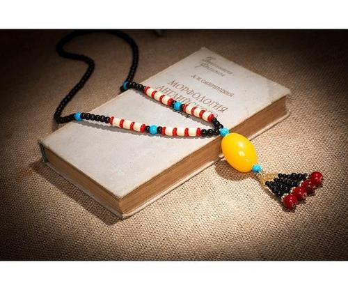 Retro Vintage Ethnic Wood Beads Imitation Beeswax Long Necklace Sweater Chain Pendant Jewelry Gift-Women Necklaces-inSowni