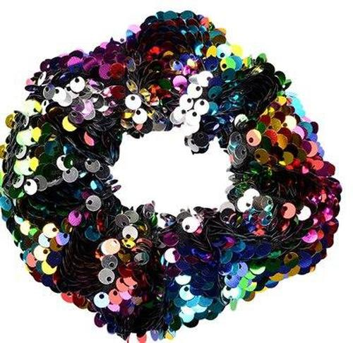 Sequins Reversible Thick Scrunchies Bobbie Hair Ties Scrunchy Elastic Rubber Band Ponytail Holder Hair Bands Bows Accessories-inSowni