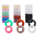 30 Pack Bulk Small Thin Assorted Colors Gold Black Brown Clear Transparent Stretchy Elastic Traceless Plastic Rubber Spiral Coil Telephone Cord Wire No Crease Hair Ties Scrunchies Twist Curly Spring Hair Bobbles Rings Bands Ponytail Holders