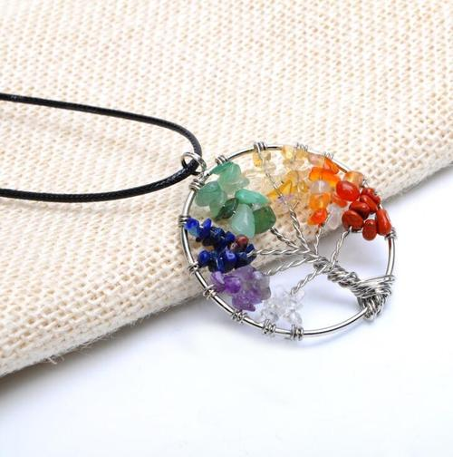 Tree Of Life 7 Chakra Pendant Necklace Natural Crystal Quartz Stone Copper Bead Leather Rope Jewelry-Women Necklaces-inSowni