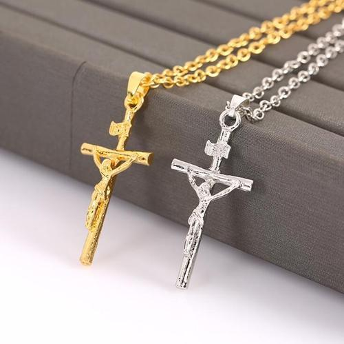 Unisex Mens Alloy Silver Gold Jesus Cross Necklace Pendant Punk Jewelry Long Chain Hip-hop Gift-Women Necklaces-inSowni