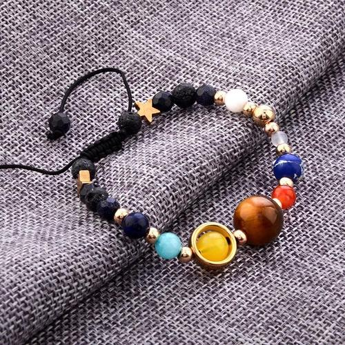 Universe Galactic Solar System Vintage Planet Stone Beads Bracelet For Women Girls Men Jewelry-Women Necklaces-inSowni