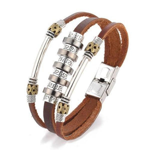 Vintage Cool Punk PU Leather Metal Bracelet Multilayer Women Girls Men Wristband Cuff Bangle-Women Bracelet-inSowni
