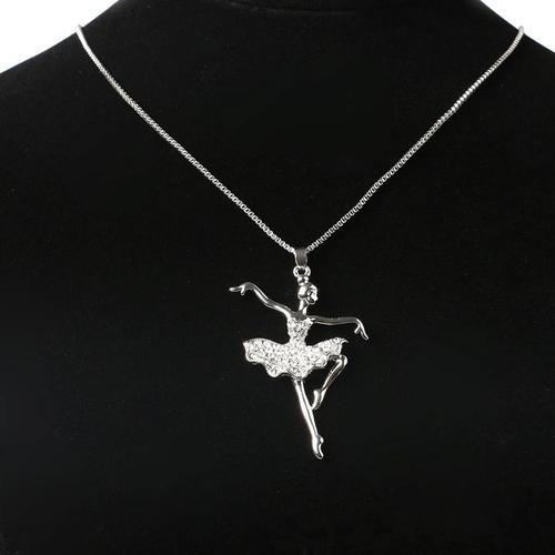 Vintage Crystal Dancer Ballerina Ballet Dance Pendant Chain Necklace Kids Sweater Chain Jewelry Gift-Women Necklaces-inSowni