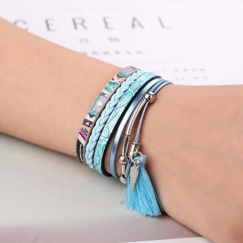 Vintage Punk Leather Bracelet Metal Multilayer Braided Lady Women Men Wristband Cuff Bangle Gift-Women Bracelets-inSowni