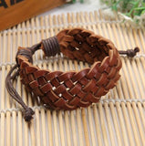 Vintage Punk PU Leather Braided Bracelet Lady Women Girls Men Wristband Cuff Bangle Handmade Gift-Women Bracelets-inSowni