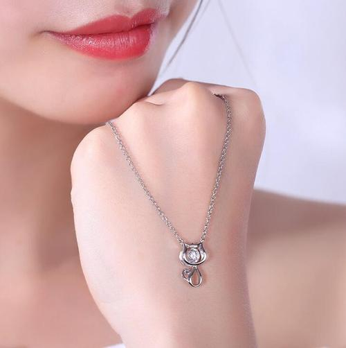 Women 18K White Gold 925 Silver Cat Necklace Kitten Pendant Sterling Clavicle Chain Gift-Women Necklaces-inSowni
