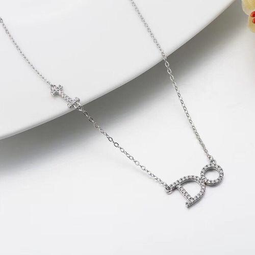 Women 925 Silver Do Letter Rhinestone Necklace Pendant Sterling Jewelry Long Chain Festival Gift-Women Necklaces-inSowni