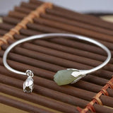 Women 925 Silver Hetian Jade Bracelet Nephrite Bangles Sterling Wristband Cuff Valentine's Day Gift-Women Bracelets-inSowni