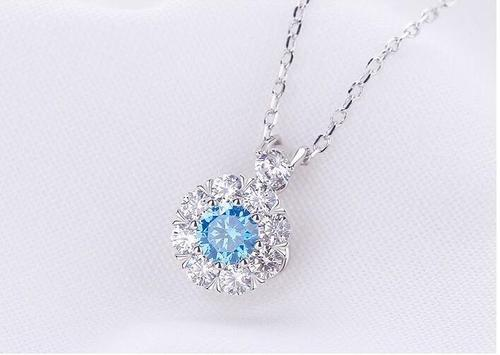 Women 925 Silver White Blue Pink Rhinestone Necklace Pendant Rotatable Video Sterling Long Chain-Women Necklaces-inSowni