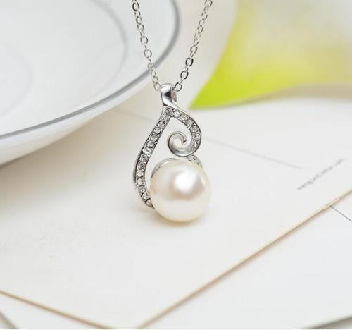 Women Alloy Crystal Pearl Necklace Earrings Ear Stud Wedding Party Sweater Chain Sets Long Chain-Women Necklaces-inSowni