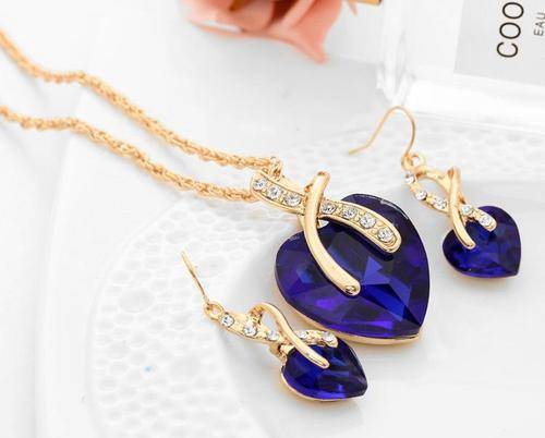 Women Alloy Gold Rhinestone Crystal Necklace Earrings Wedding Party Jewelry Sets Long Chain Gift-Women Necklaces-inSowni