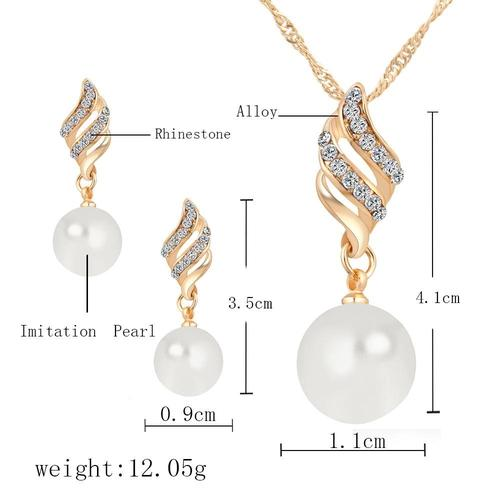 Women Alloy Gold Rhinestone Pearl Necklace Earrings Ear Stud Wedding Party Jewelry Set Long Chain-Women Necklaces-inSowni