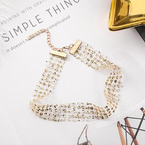 Women Alloy Paillette Choker Chunky Silver Gold Necklace Casual Jewelry Party Teal Long Chain Gift-Women Necklaces-inSowni