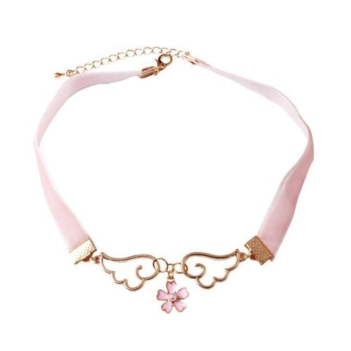 Women Alloy Sakura Love Star Choker Chunky Necklace Pendant Vintage Jewelry Teal Long Chain Gift-Women Necklaces-inSowni