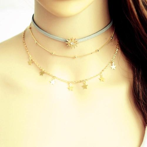 Women Alloy Star Choker Chunky Necklace Pendant Multi-layer Gold Vintage Jewelry Teal Long Chain-Women Necklaces-inSowni