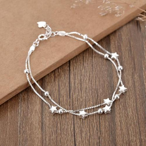 Women Beads Star Bracelet Lady Girls Platinum Plated Bangles Jewelry Wristband Cuff Anklet Gift-Women Bracelet-inSowni