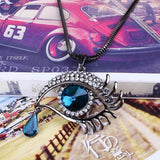 Women Blue Eyes Tears Crystal Collar Statement Chain Sweater Chain Pendant Vintage Necklace Gift-Women Necklaces-inSowni