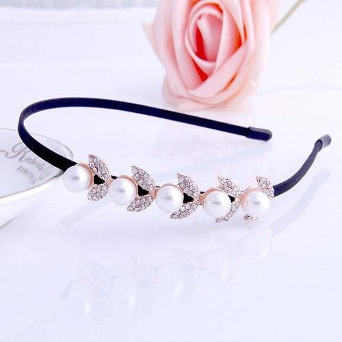 Women Bridal Wedding Party Hair Hoop Band Headbands Headpiece Pearl Rhinestone Flower Dance Ball-Hair Hoops-inSowni