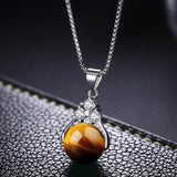 Women Crystal Agate Beads Necklace Opal Emerald Sapphire Pendant Platinum Plated Jewelry Gift-Women Necklaces-inSowni