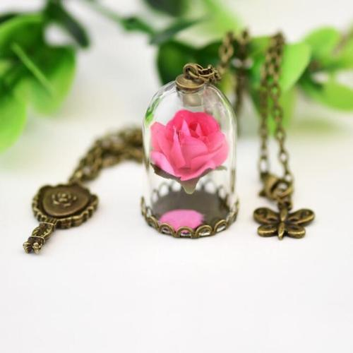 Women Crystal Glass Ball Dried Rose Flower Necklace Vintage Chain Butterfly Pendant Jewelry Gift-Women Necklaces-inSowni