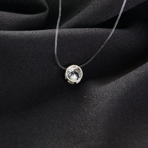 Women Crystal Rhinestone Necklace Invisible Line Zircon Clavicle Chain Pendant Jewelry Long Chain-Women Necklaces-inSowni