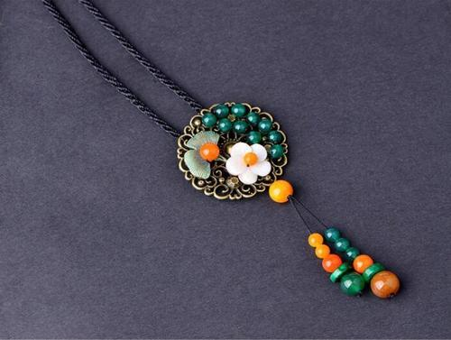 Women Ethnic Style Sweater Chain Agate Jade Pendant Necklace Vintage Jewelry Long Chain Gift-Women Necklaces-inSowni