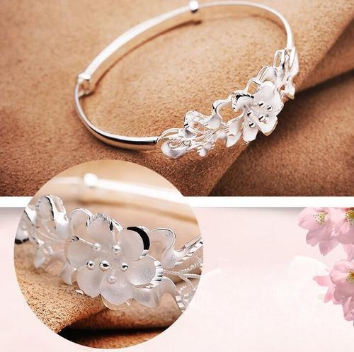 Women Flower Copper Silvering Adjustable Bracelet Bangles Wristband Valentine's Day Gift-Women Bracelet-inSowni