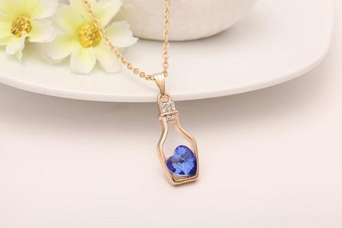 Women Girl Alloy Gold Plating Silver Crystal Wishing Bottle Love Necklace Pendant Jewelry Long Chain-Women Necklaces-inSowni