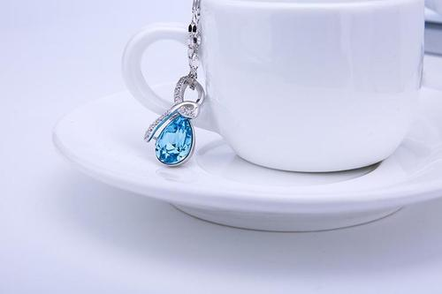 Women Girls 925 Silver Blue Crystal Rhinestone Pendant Necklace Sterling Jewelry Fashion Gift-Women Necklaces-inSowni