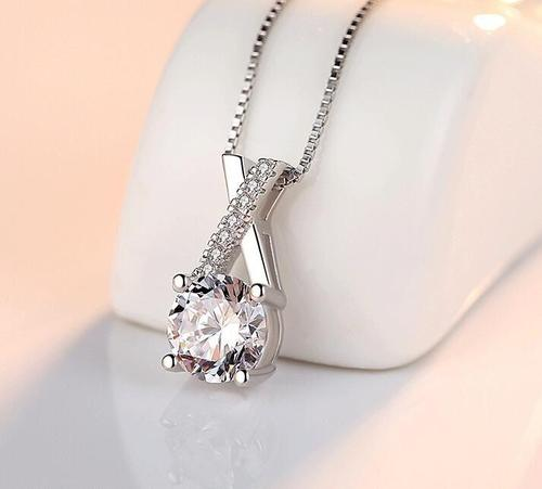 Women Girls 925 Silver Crystal Rhinestone Pendant Necklace Sterling Jewelry Fashion Gift Accessories-Women Necklaces-inSowni
