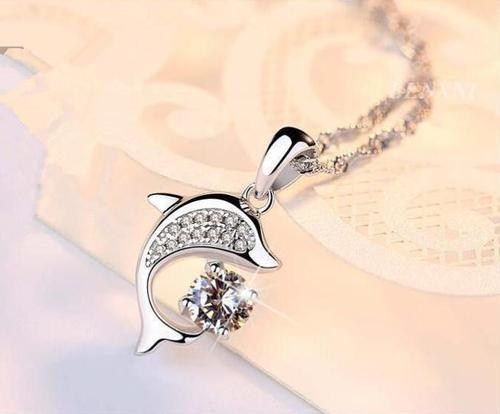 Women Girls 925 Silver Dolphin Crystal Rhinestone Pendant Necklace Sterling Jewelry For Kids Gift-Women Necklaces-inSowni