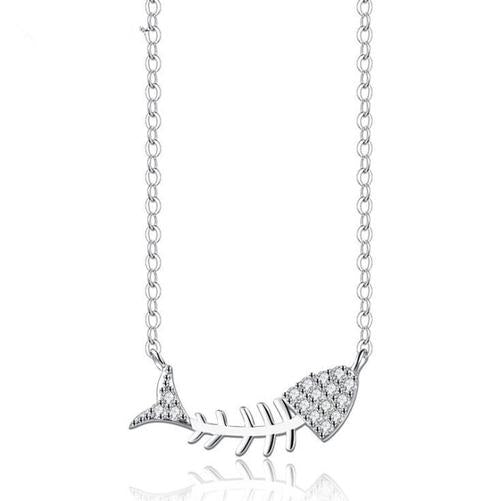 Women Girls 925 Silver Fishbone Rhinestone Necklace Pendant Sterling Jewelry Long Chain Gift-Women Necklaces-inSowni