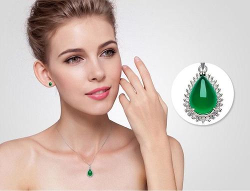 Women Girls 925 Silver Green Emerald Pendant Necklace Sterling Wedding Jewelry Fashion Gift-Women Necklaces-inSowni
