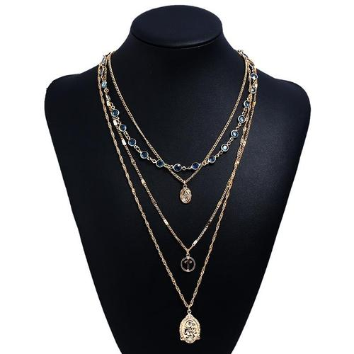Women Girls Alloy Crystal Choker Chunky Necklace Pendant Multi-layer Gold Vintage Jewelry Long Chain-Women Necklaces-inSowni