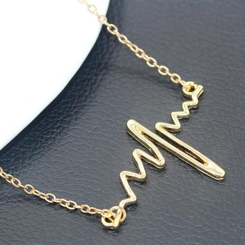 Women Girls Alloy Necklace Thunder Lightning Gold Silver Pendant Vintage Jewelry Choker Chunky Chain-Women Necklaces-inSowni