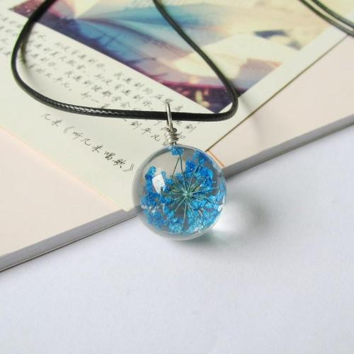 Women Girls Crystal Glass Ball Dried Flower Necklace Leather Chain Dandelion Pendant Jewelry Gift-Women Necklaces-inSowni