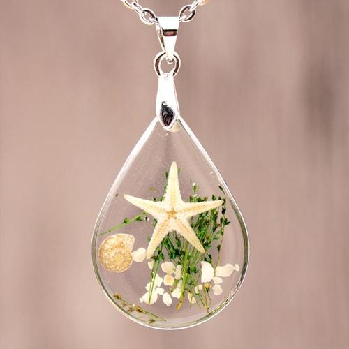 Women Girls Crystal Glass Starfish Specimen Necklace Vintage Chain Resin Pendant Jewelry Gift-Women Necklaces-inSowni