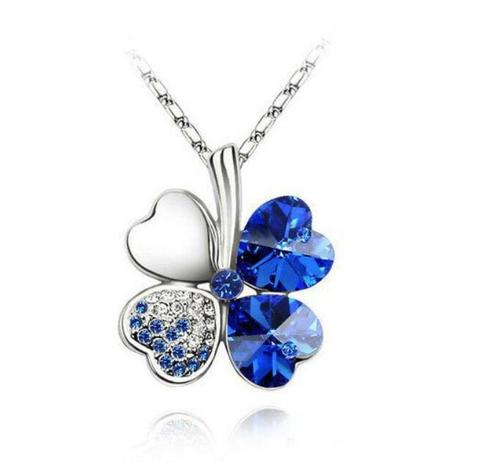 Women Girls Four-Leaf Clover Necklace Pendant Purple Blue Green Crystal Jewelry Chain Gift-Women Necklaces-inSowni