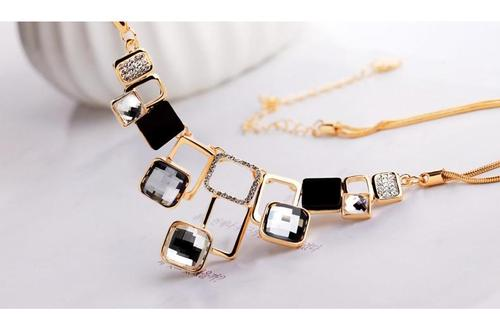 Women Girls Geometric Figure Necklace Alloy Crystal Long Chain Sweater Chain Pendant Jewelry Gift-Women Necklaces-inSowni