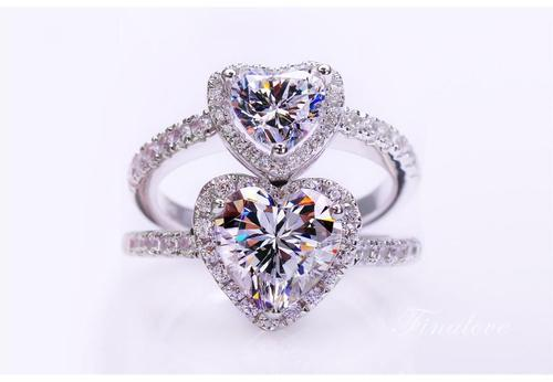 Women Girls Ladies Size 5/6/7/8/9 Luxurious Love Heart Rhinestone Crystal Rings Bride Wedding Jewelry Finger Ring Fashion Popular Gift-Women Rings-inSowni