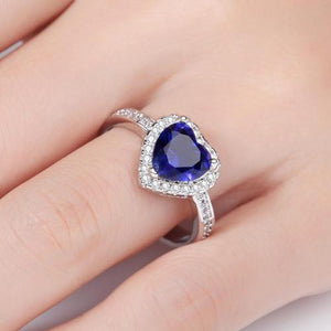 Women Girls Ladies Size 6/7/8/9 Silver Plating Love Heart Blue Artificial Zircon Rings Vintage Jewelry Wedding Finger Ring Fashion Popular Valentine's Day Gift-Women Rings-inSowni