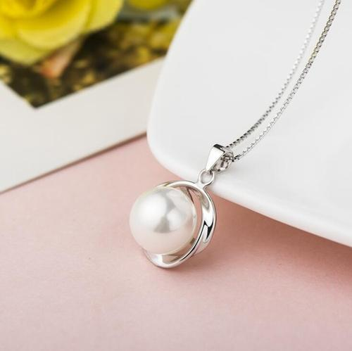 Women Girls Ladies Sterling Pearl Necklace Pendant Gold 925 Silver Jewelry Fashion Gift Accessories-Women Necklaces-inSowni